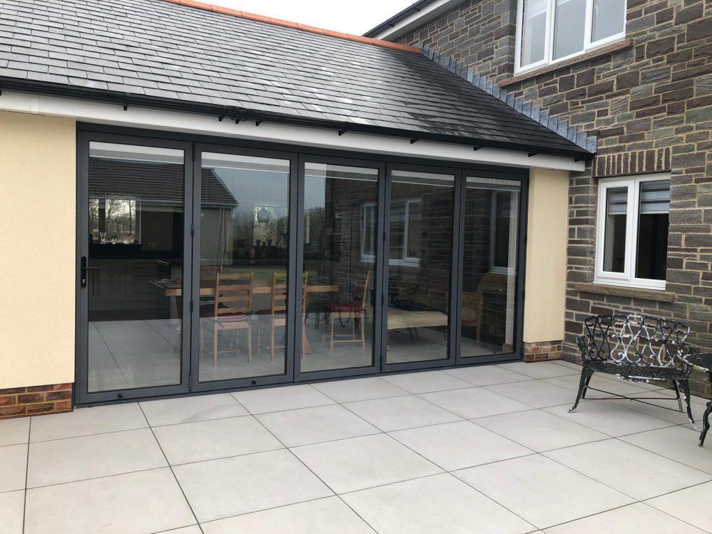 Capel Hendre, Ammanford, Carmarthenshire RAL 7016 grey Aluminium bifold door
