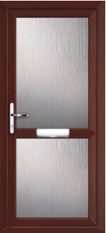 Fully Glazed With Midrail Rosewood uPVC door panel